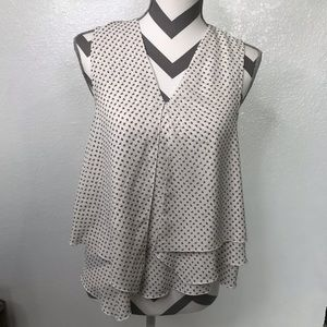 H&M Black & White Geometric Print Flowy Blouse